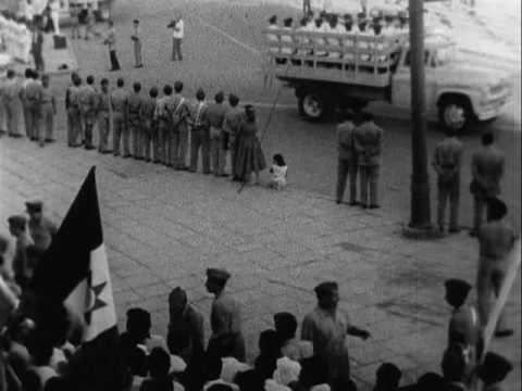 Military parade, Baghdad, Iraq ; Cairo, Egypt, 07/14/1959