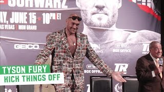Tyson Fury forces press conference to start early with Chaos, Songs and Jokes