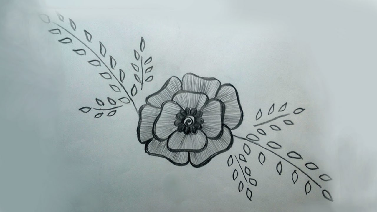 Pencil Drawing A Beautiful Flower Design Easy //Beautiful