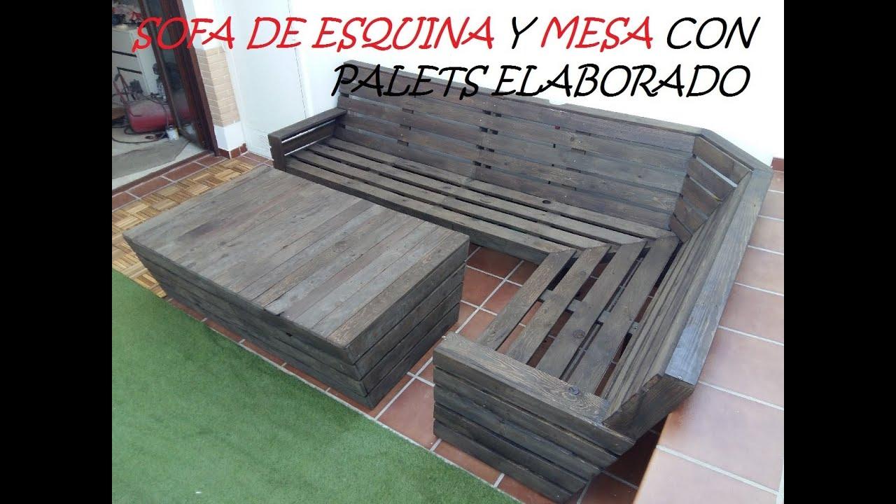 Sofa con palets sofa de esquina y mesa con palets cajones - Como hacer un sofa con palets ...