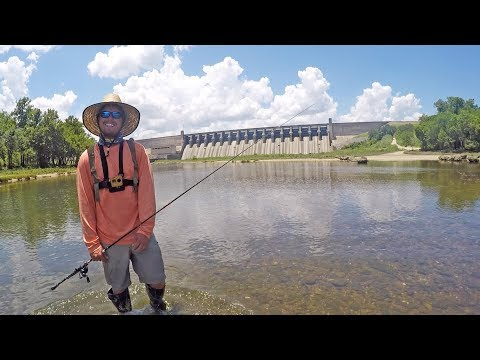 Fishing Under Lake Dam Before The Water Comes