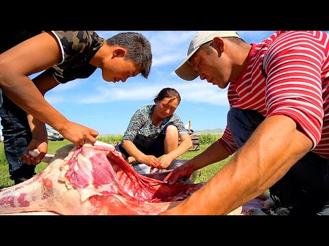 Mongolian Food - EXTREME BBQ SHEEP HEAD In Mongolia | RARE Nomadic Food In Mongolia!