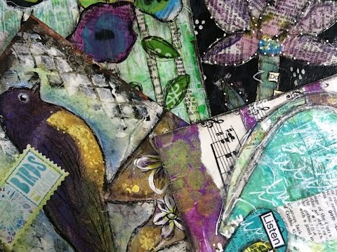 Four Art Journal Pages, One Tag and One ATC - 6 Projects (Sped Up)