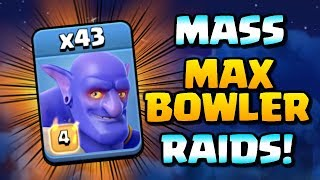 MASS MAX BOWLER Level 4 Raids at Town Hall 12 - Clash of Clans TH12 Attacks - Pushing for Legends?