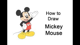How to Draw Mickey Mouse (Full Body)