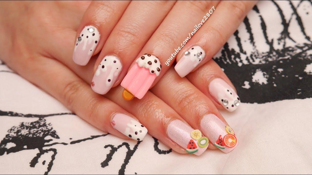 sweet gyaru ice cream nail art