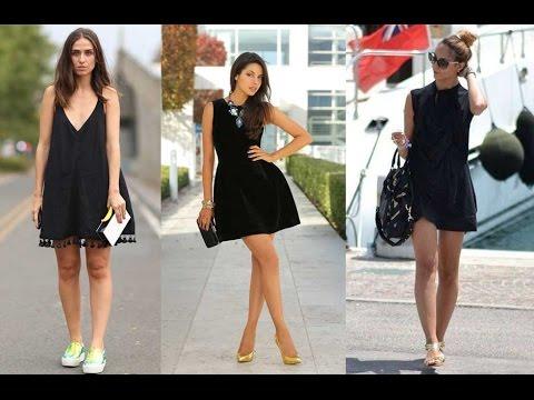 Combinar Vestido De Color Negro Casual Moda 2018