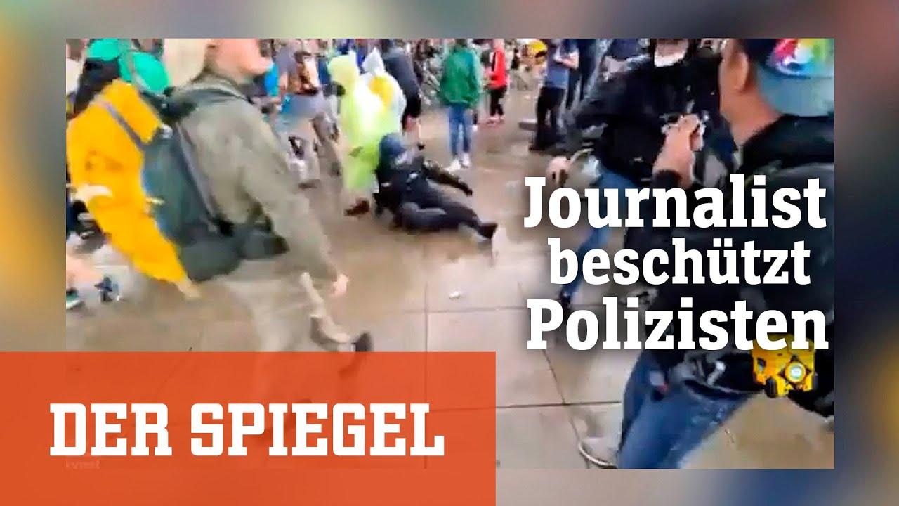 Augenzeuge bei »Querdenker«-Demo: Journalist beschützt Polizisten | DER SPIEGEL