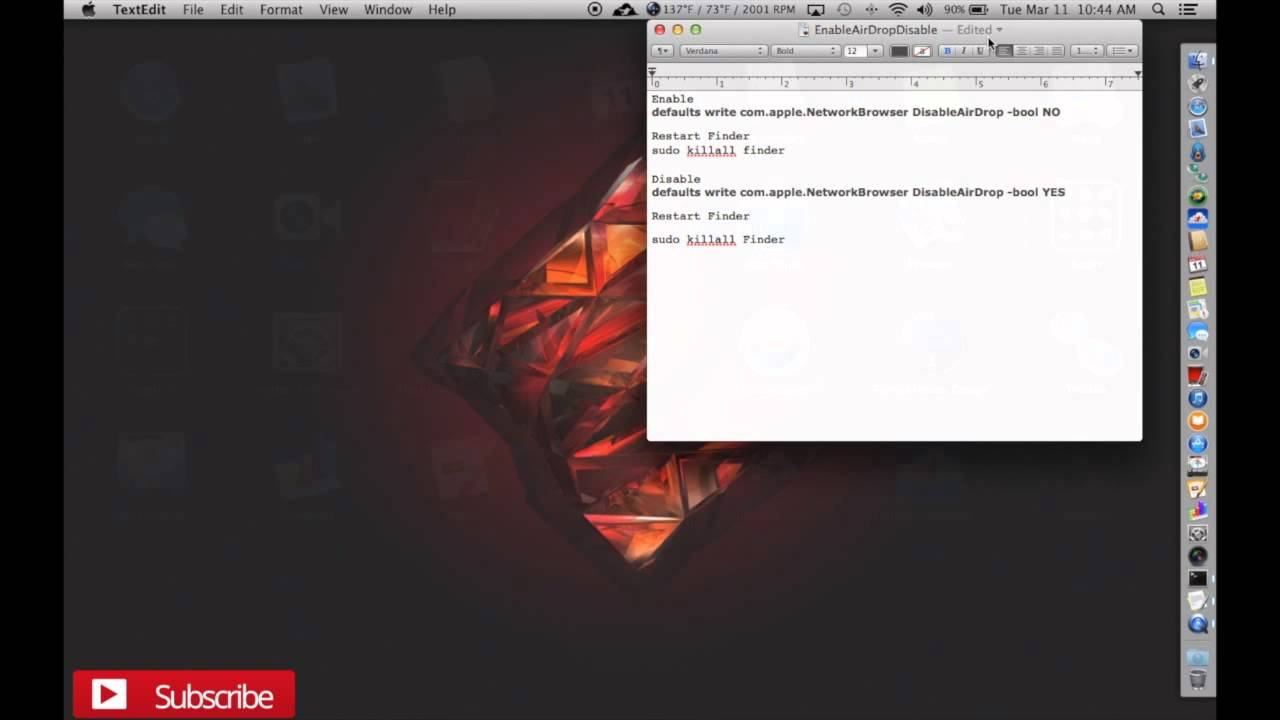 Enable/Disable Airdrop on older Mac's and Hackintoshes