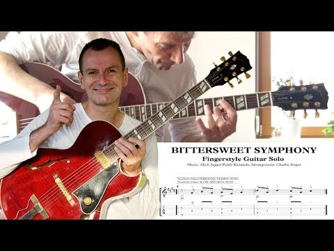 Bittersweet Symphony TAB TUTORIAL CLOSE UP ORIGINAL SPEED Fingerstyle Guitar Solo Charlie Kager