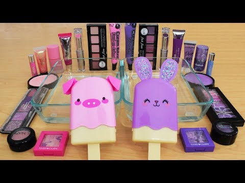 Pink vs Purple - Mixing Makeup Eyeshadow Into Slime Special Series 194 Satisfying Slime Video