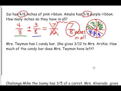 solve word problems using addition and subtraction of fractions ...