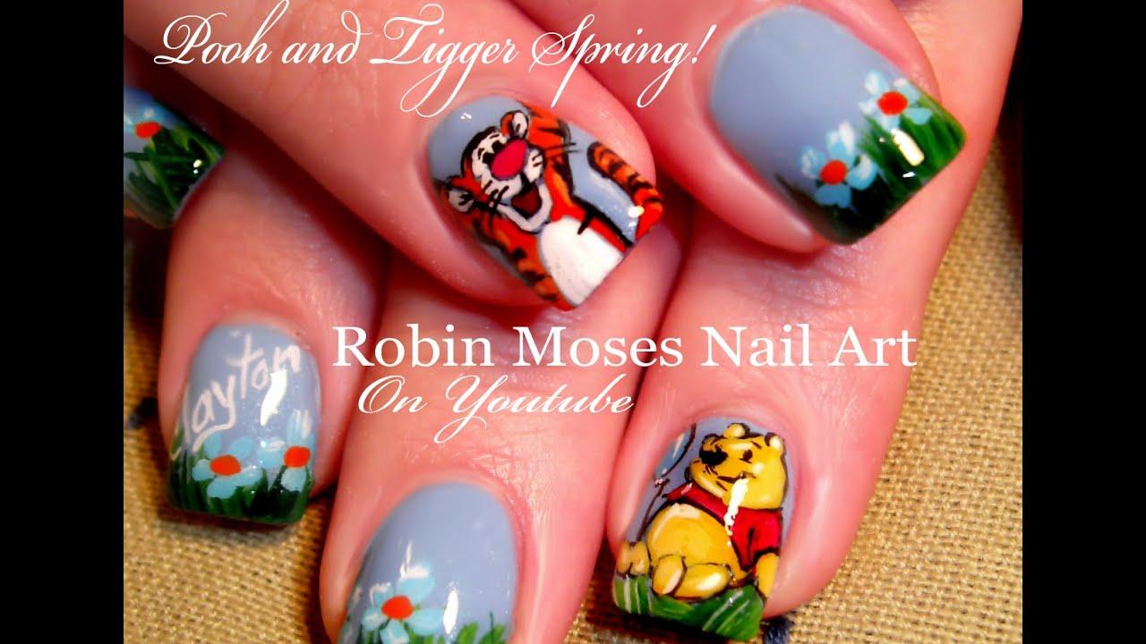 Winnie The Pooh Tigger Nails Cute Spring Nail Art Design