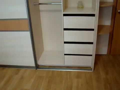 Встроенный шкаф купе в прихожую с пескоструйными рисунками на зеркале (0565)