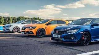 Honda Civic Type R vs Hyundai i30N vs Renault Megane RS Cup 280 | Top Gear: Drag Races thumbnail