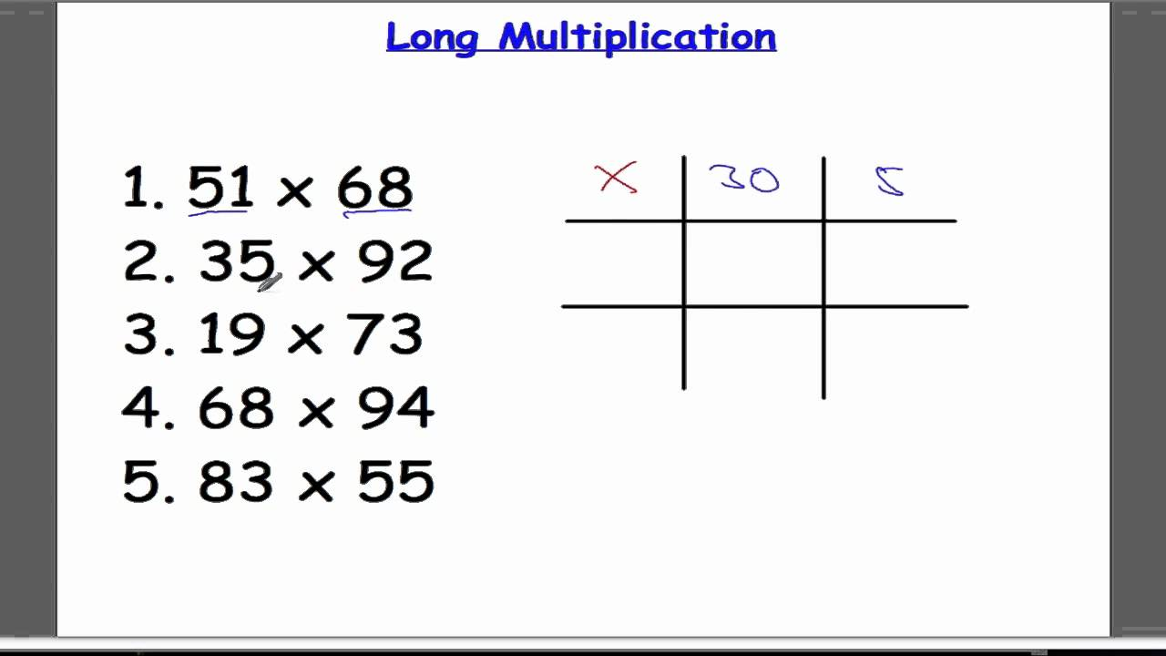 Long Multiplication Grid Method - YouTube