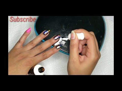 Rainbow Foil Matte Gel Nails