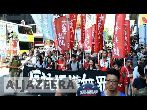 Thumbnail: Hong Kong: Crowds protest jailing of Umbrella Movement leaders