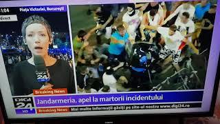 Jandarmi bătuţi cu bestialitate de protestatari.