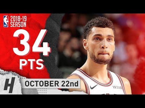 Zach LaVine Full Highlights Bulls vs Mavericks 2018.10.22 - 34 Points!