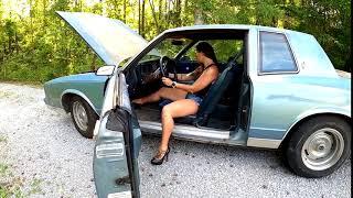 Jane Domino Cranking That Old Chevy in Platform Heels