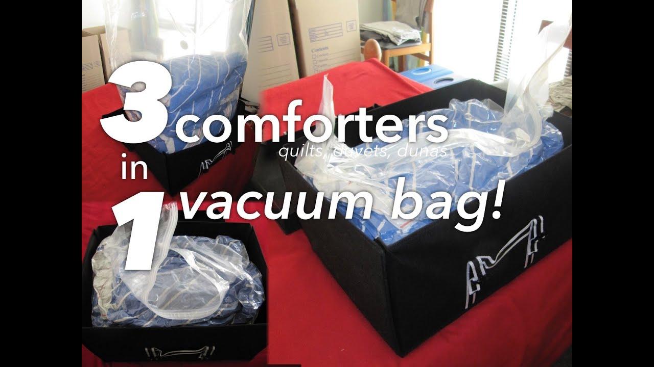 Compacting 3 Duvets Into 1 Vacuum Bag