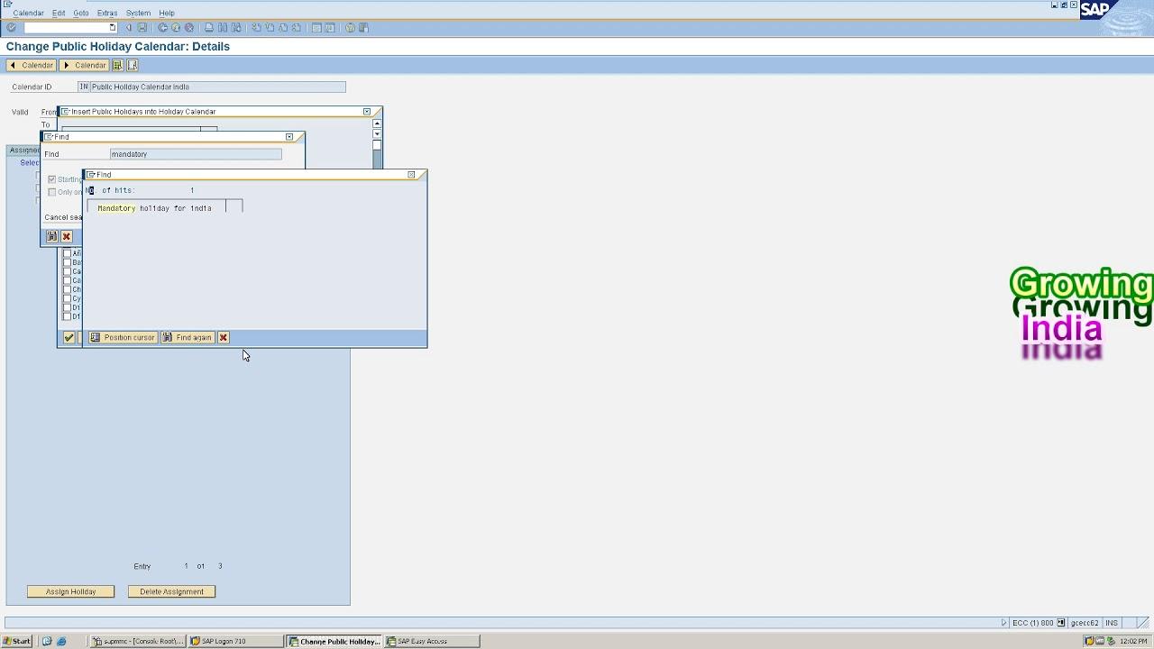 Ecc Calendar.Factory Calendar Complete Process