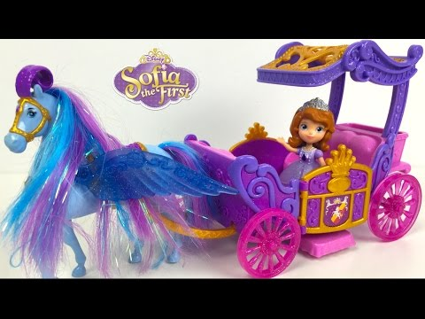 DISNEY JUNIOR SOFIA THE FIRST ROYAL HORSE AND CARRIAGE SET WITH FLYING HORSE -  UNBOXING