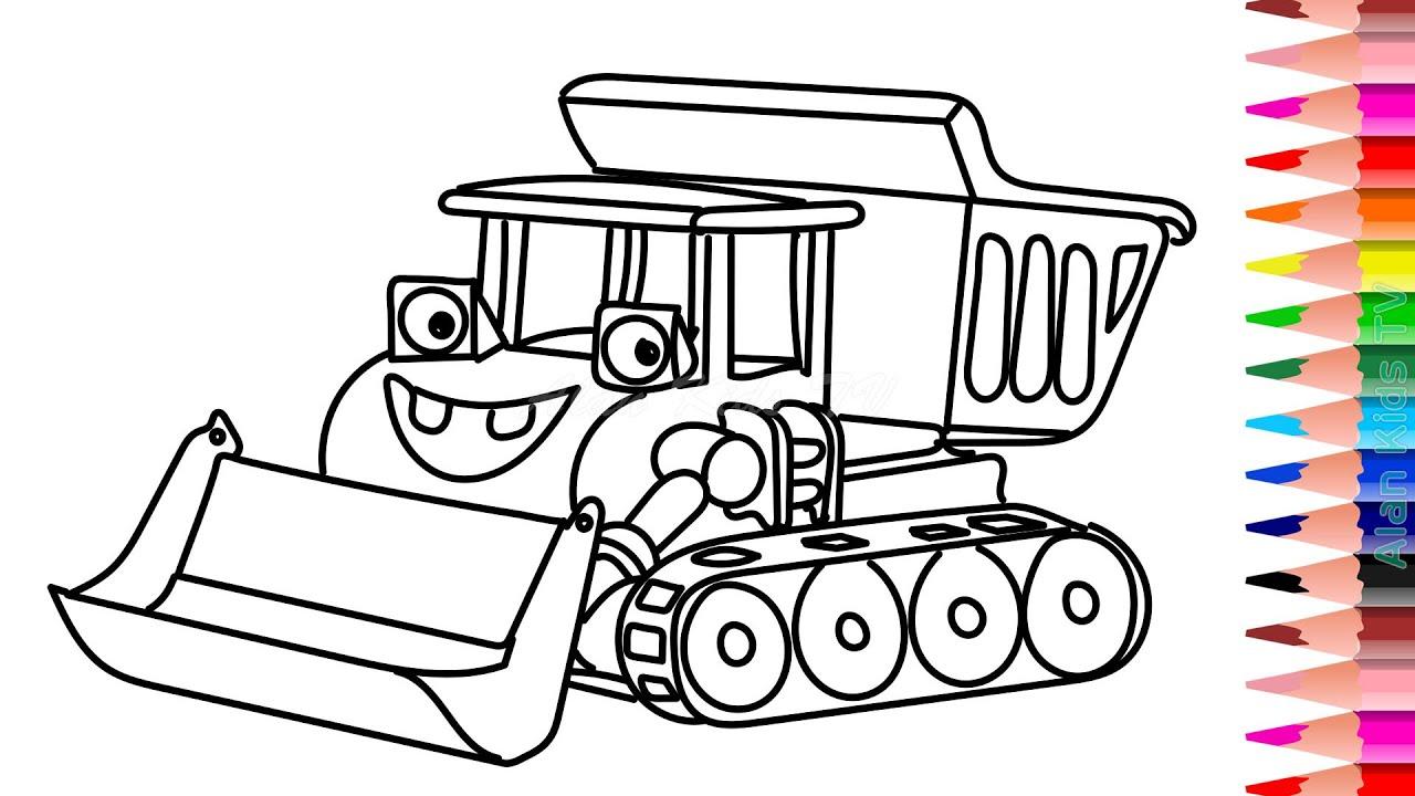 Cara Menggambar Dan Mewarnai Mobil Bulldozer Glitter