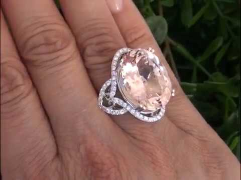 Catherine ZetaJones Flawless Morganite Diamond Ring Set In Solid