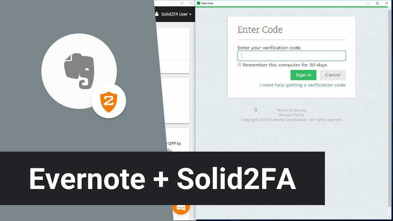 Evernote + Solid2FA — Secure 2-Step Login for your Evernote Account