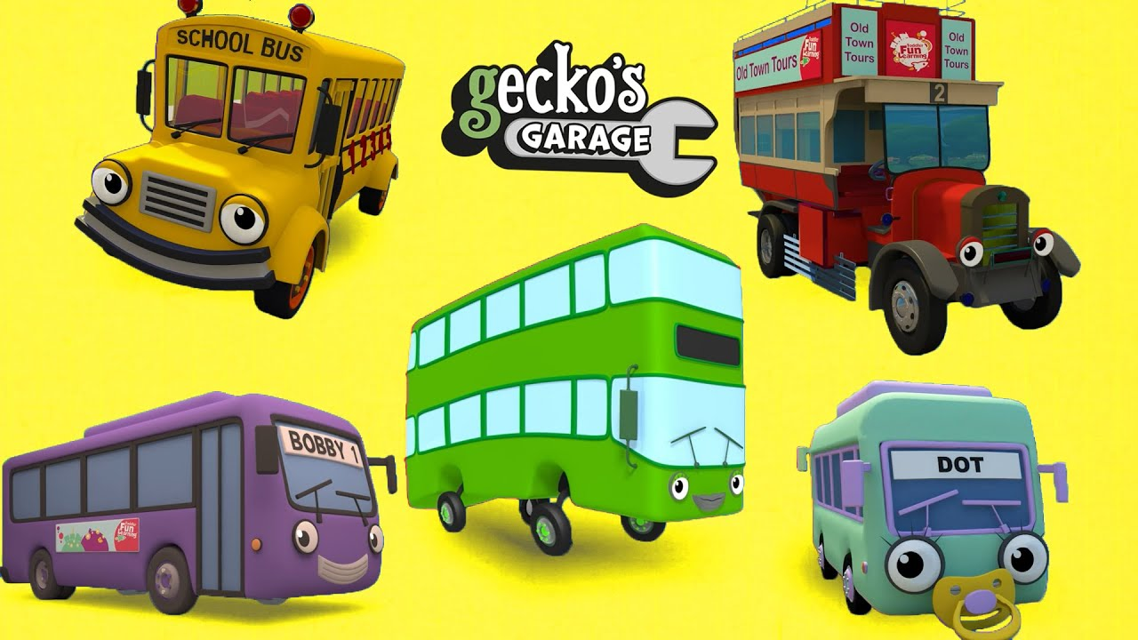 Counting Five Big Buses | Gecko's Garage | Educational Videos For Toddlers | Buses For Children