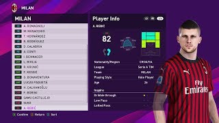 AC Milan Players Faces & Ratings PES 2020