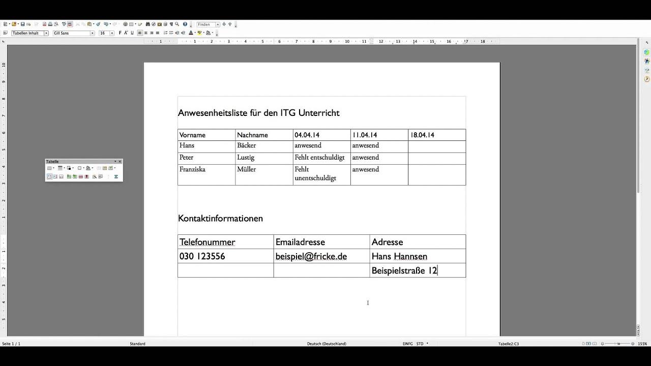 Tutorial Tabellen erstellen und bearbeiten in Open Office - YouTube