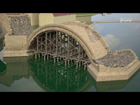 Karlův most - Stavba pilíře a klenebního pole ve 14. století