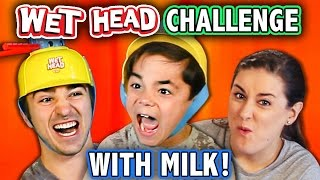 WET HEAD CHALLENGE WITH MILK! (ft. KIDS REACT Cast) | Challenge Chalice
