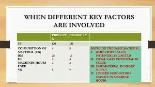 KEY FACTORS /LIMITING FACTORS   COST ACCOUNTING