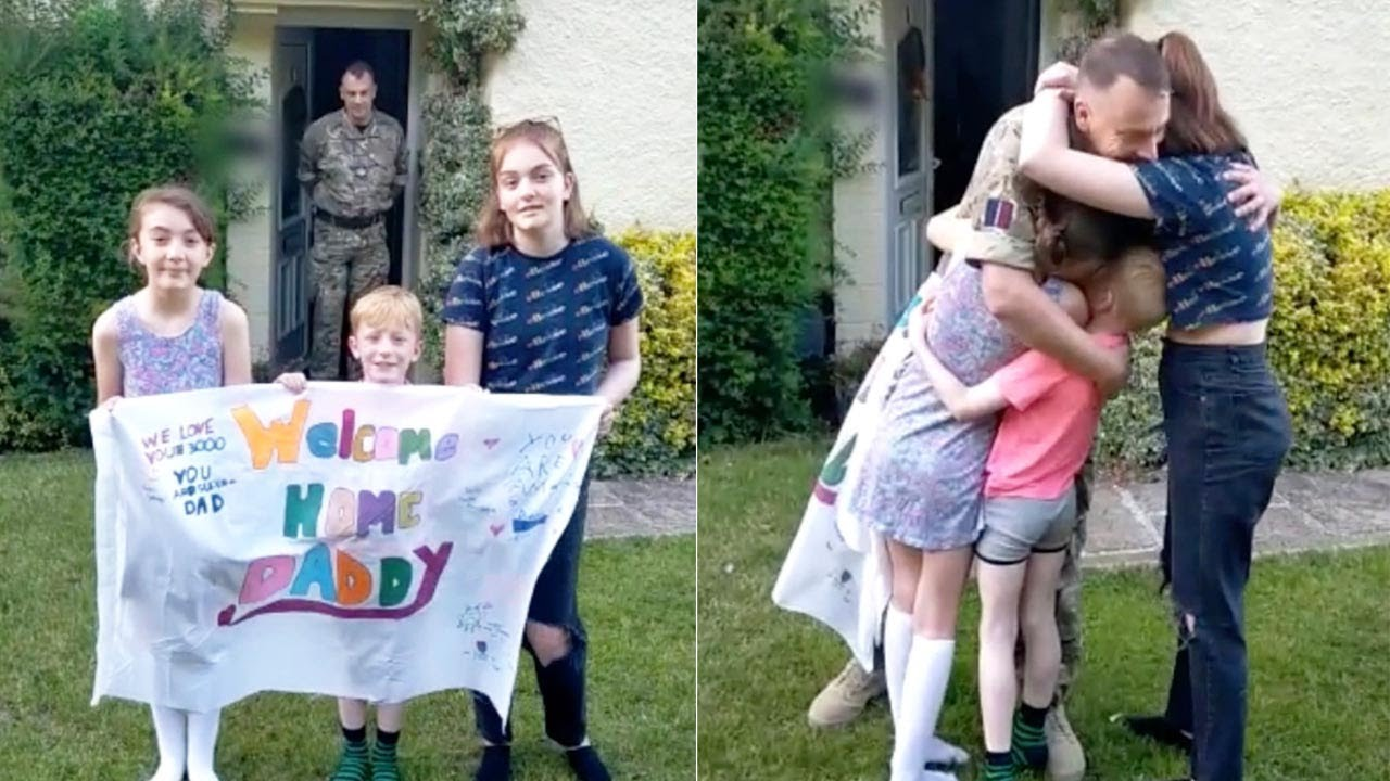 Dad Surprises Kids By Returning Home From The Military