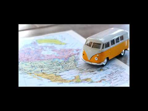 USA on the road trip globetrotter traveler planning with hippie van - stock footage clip