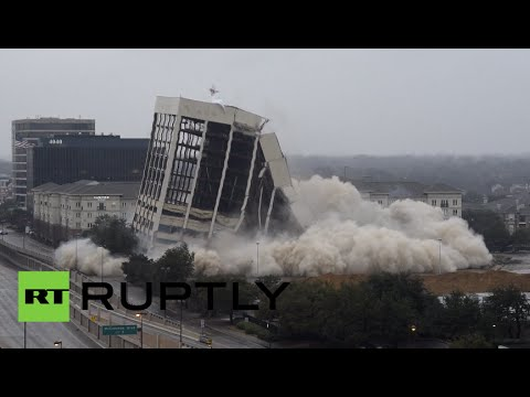 RAW: 15-story Dallas building explodes in controlled demolition