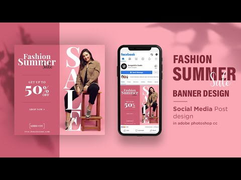 Ecommerce Fashion Summer Sale Banner Design in Photoshop  | Social Media Post Design