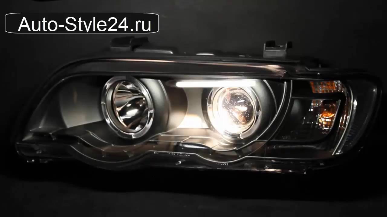 Передние тюнинг фары БМВ X5 Е53 1998-2003, ангельские глазки, с дневными ходовыми огнями