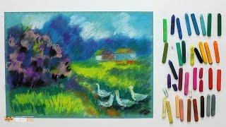 """Курс рисования """"Сухая пастель"""" Начинающие. Урок 4-4. Сельский пейзаж"""