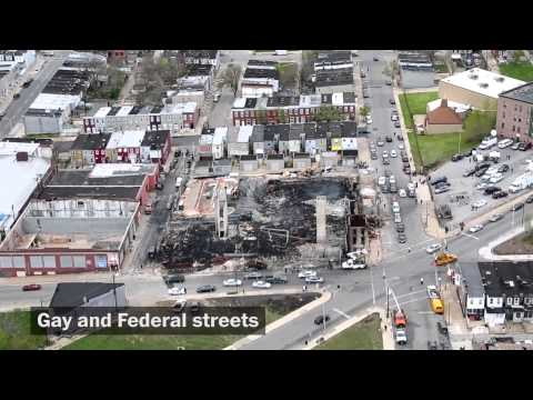 Aftermath of Baltimore riots from above