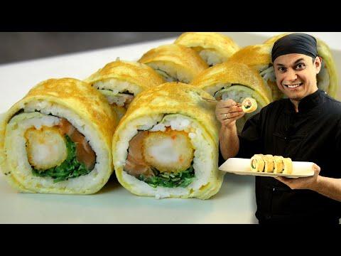 Ролл в яичном блинчике (омлете). Пошаговый рецепт. Sushi / Rolls