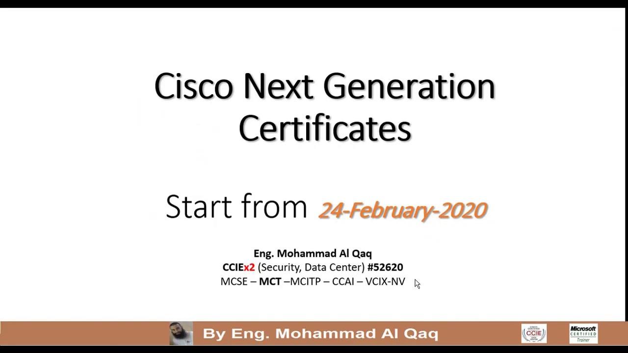 Cisco Next Generation Certificates By Eng Mohammad Al Qaq Arabic