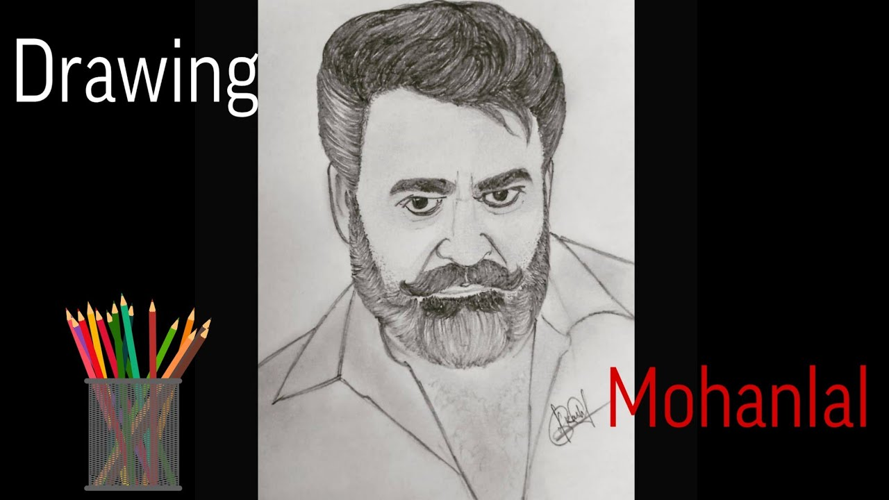 Drawing Mohanlal (time lapse) | Pencil sketch of Mohanlal ...