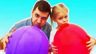 Colors with Balloons ! Kids and daddy have fun playtime with color song !