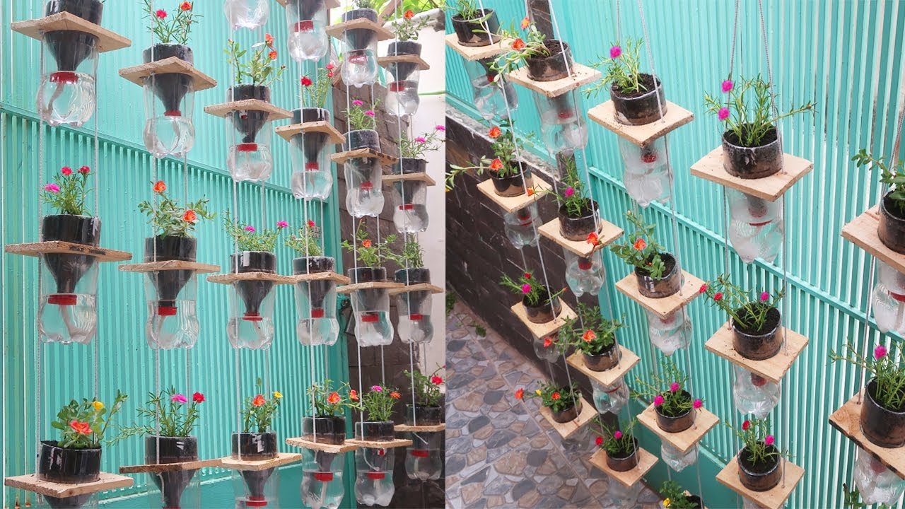 Very Easy & Simple Hanging Garden Making, Recycling Plastic Bottles into Hanging Garden