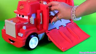 vuclip Wheelies Cars Mack Truck Hauler Radiator Springs Playset Disney Pixar Lightning McQueen Talking Mack